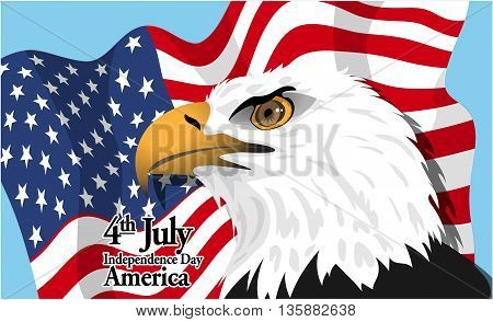 Happy fourth of july America independence day card with a big eagle and flag. Digital vector image