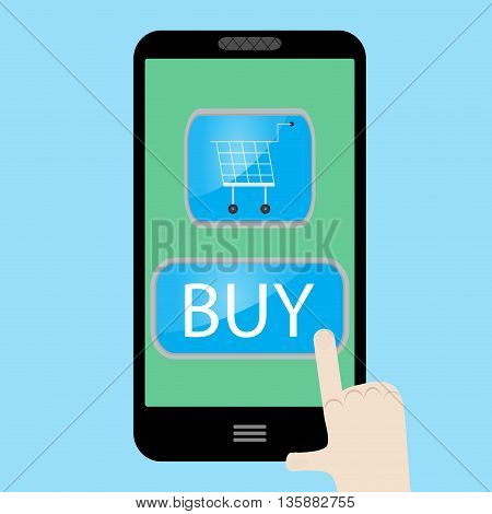 Buy now with use smart phone. Sale web and buy cart with internet vector illustration