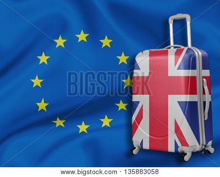 Brexit illustration. British baggage with EU flag behind.