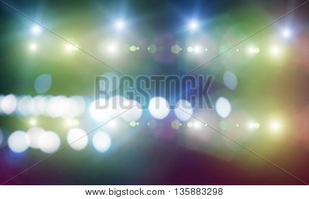 Background image with stage blurred lights and beams