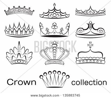 Crown collection, crown set, silhouette crown set. Vector illustration, EPS 10