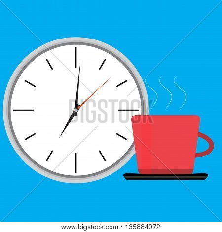 Wake up clock and cup of coffee. Wake up happy morning waking up get up vector illustration