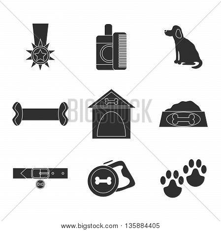 Dog icons set isolated on white. Vector illustration, EPS 10