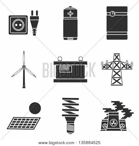 Energy generating and storing systems with high power sustainable batteries. Icons set abstract isolated vector illustration