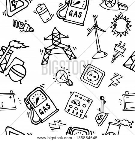Hand drawn Energy Icons Pattern. Vector illustration, EPS 10