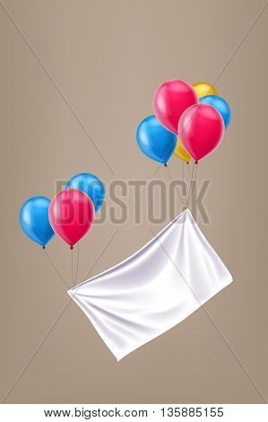illustration of group different color balloons with white cloth