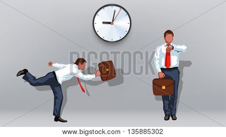 illustration of running businessman to office with case