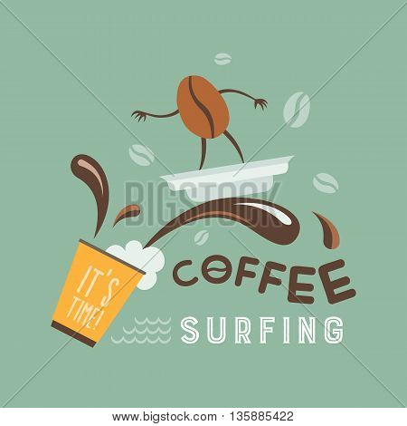 Coffee bean rides on a wave of coffee on the lid. Comic vector illustration.