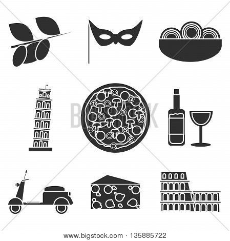 Set of Italy travel colorful icons, Italy symbols for your design. Vector illustration.