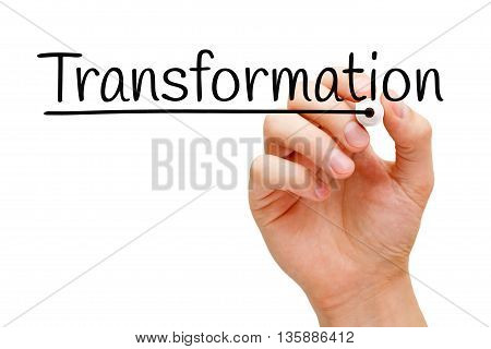 Hand writing Transformation with black marker on transparent wipe board.