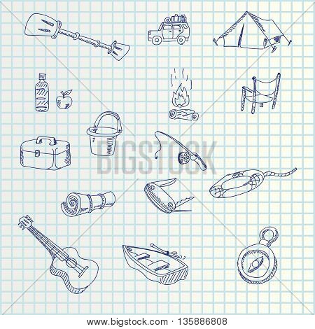 illustration of hand draw tourism set icons on paper