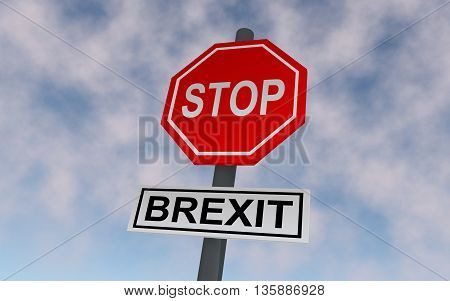 The road sign for Great Britain leaving EU. On the sign write STOP and BREXIT. 3D rendering.