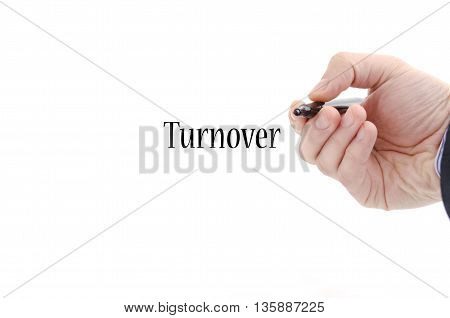 Turnover text concept isolated over white background