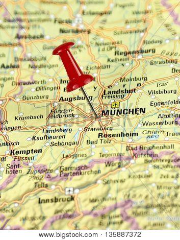 Map with pin set on Munich, Germany.