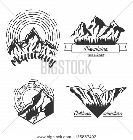 Mountain climbing color vector labels and emblems. Ski Resort vintage logo. Mountain downhill, extreme patrol.