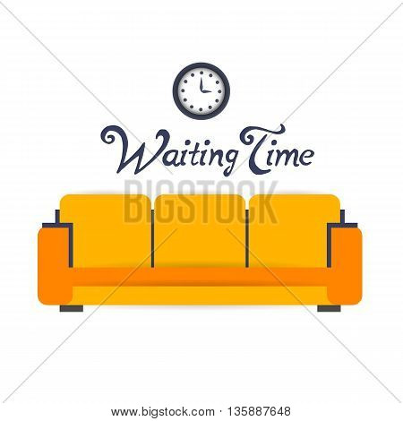 waiting room background interior colorful design with furniture double sofa and electric clock. Vector flat style illustration. Material vector icon