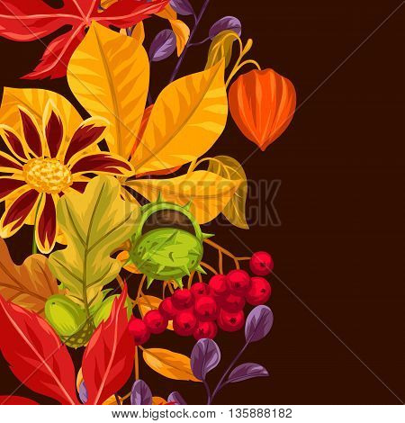 Seamless border with autumn leaves and plants. Background easy to use for backdrop, textile, wrapping paper.