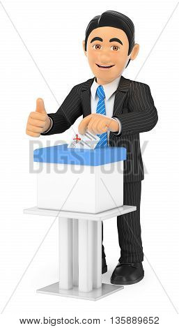 3d business people illustration. Businessman voting in a ballot box. Isolated white background.