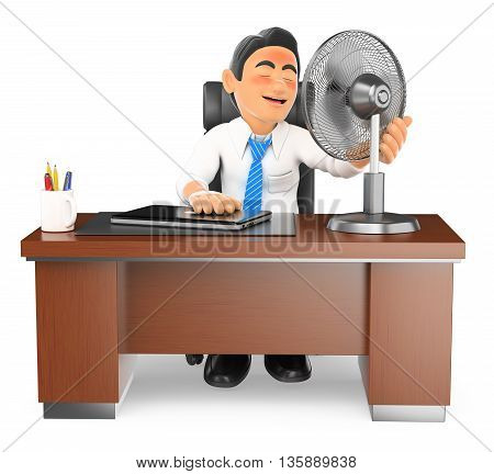 3d business people illustration. Businessman heated in his office with a fan. Isolated white background.