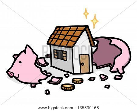 Home Investment, a hand drawn vector illustration of a cracked open piggy bank with a house inside.