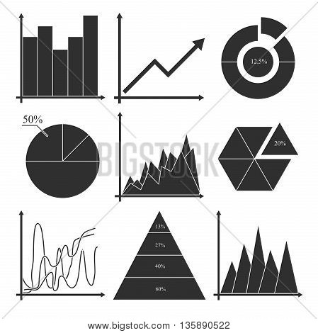 Set of vector business charts, statistic, diagrams. Business data market elements dot bar pie charts diagrams and graphs icons set isolated vector illustration.