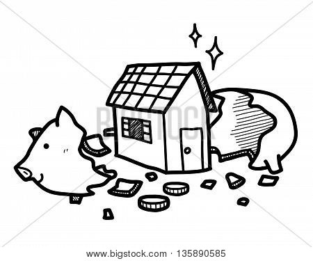 Home Investment, a hand drawn vector doodle illustration of a cracked open piggy bank with a house inside.