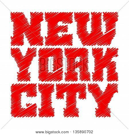 T shirt typography graphics New York. Athletic style NYC. Fashion american stylish print for sports wear. Red drawn emblem. Template for apparel card poster. Symbol of big city Vector illustration