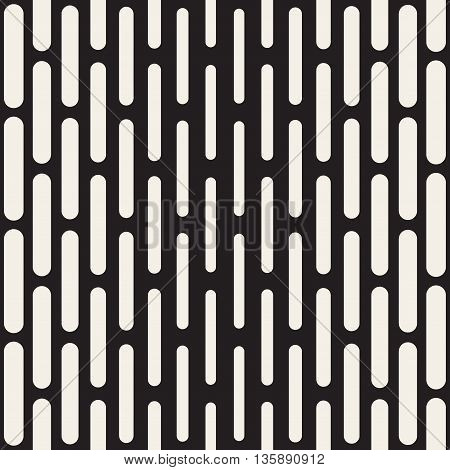 Vector Seamless Black And White Vertical Rounded Rectangles Pattern. Abstract Geometric Background Design