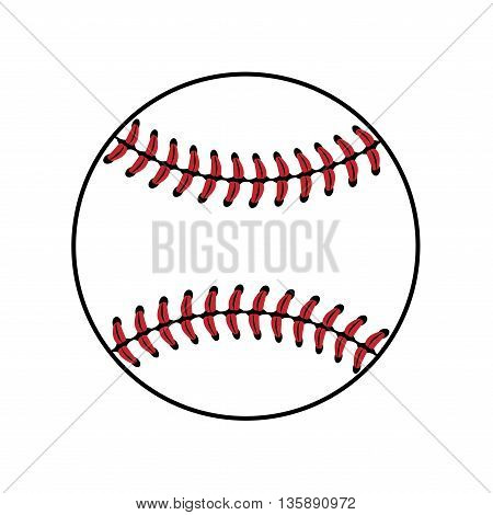Baseball ball sign. Colored softball sign isolated on white background. Equipment professional american sport. Symbol play team game and competition recreation. Simple design. Vector illustration