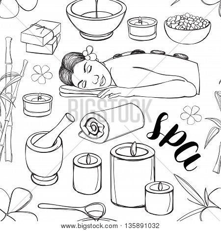 Spa doodle set pattern hand drawn sketch with towels aroma candles vector illustration.