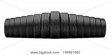 set of tires standing in a row. Isolated on a white backgrond 3d image.