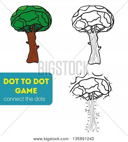 Dot to Dot Games for Children. Numbers game. Vector illustration. Coloring and dot to dot educational game for kids. Tree, oak