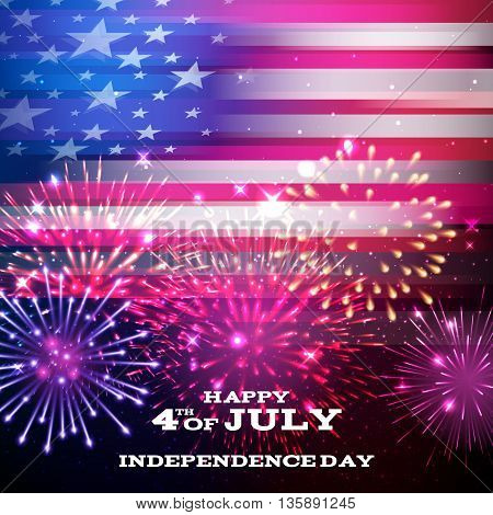 4th July Independence day background design. National day USA holiday banner poster greeting card. Stars and stripes american flag with fireworks vector illustration.