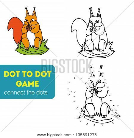 Dot to Dot Games for Children. Numbers game. Connect the dots to draw the animal educational game for children, squirrel vector illustration