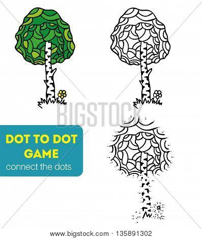 Dot to Dot Games for Children. Numbers game. Vector illustration. Coloring and dot to dot educational game for kids. Tree, birch