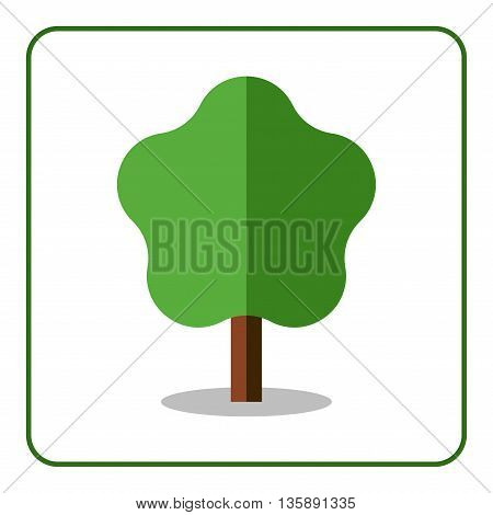 Maple or linden tree icon Flat design sign. Trendy beautiful floral element isolated on white background. Green silhouette deciduous tree. Symbol nature forest and growth organic Vector illustration