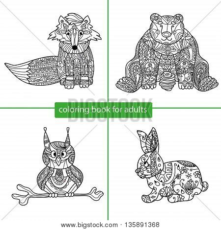 Coloring book for adults - set of four drawings coloring pages for adults and children, fox, bear, owl, rabbit. Zentangle patterns