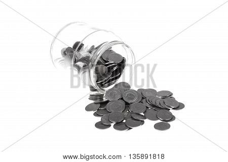 Polish currency zloty in jar. Money and savings concept on white background.