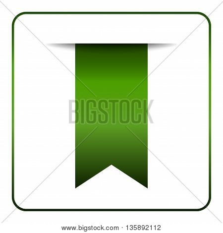 Green bookmark banner. Vertical book mark isolated on white background. Color tag label. Flag symbol sign. Design element blank. Empty sticker for sale. Template icon decoration. Vector illustration