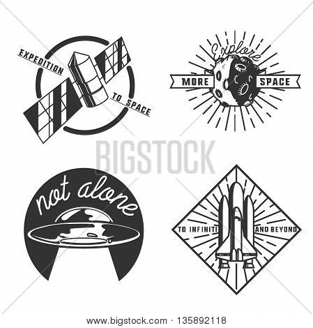 Vintage space emblems and astronaut badges, logos and labels. Vintage style