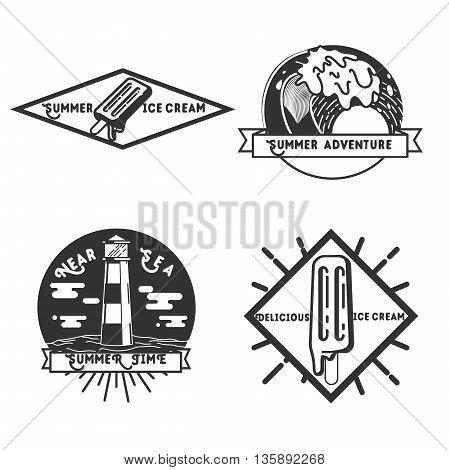 Vintage summer season emblems. Design elements, icons, logo, emblems and badges isolated on light background. Summer time, beach holidays, summer adventure.