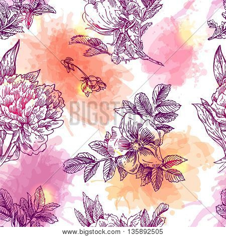 Beautiful hand drawn seamless pattern boho flowers. Flowers for boho-style wedding invitations. Decorative floral illustration with flowers of peonies and roses