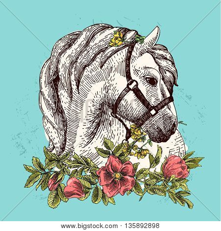 Vector fashion boho chick style horse with flower. Traditional bohemian decoration.