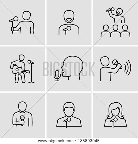 Singer With Microphone Vector Icons