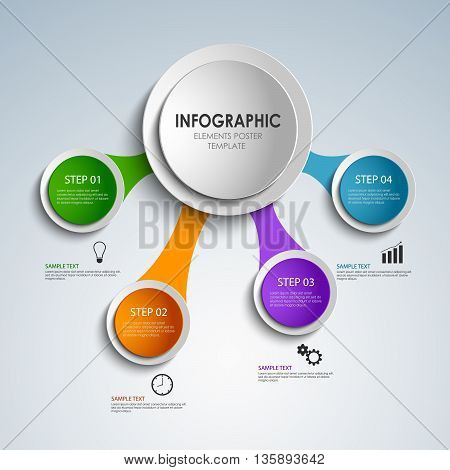 Abstract colored rounds info graphic elements poster template vector eps 10