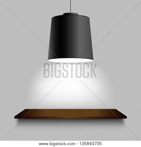 Black ceiling lamp with shelf on the wall vector eps 10