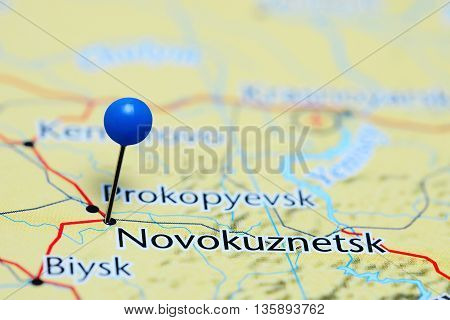 Novokuznetsk pinned on a map of Russia