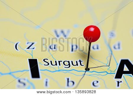 Surgut pinned on a map of Russia