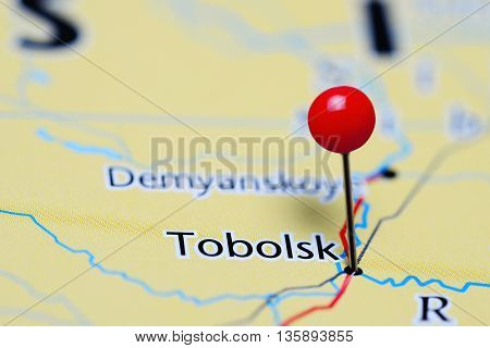 Tobolsk pinned on a map of Russia