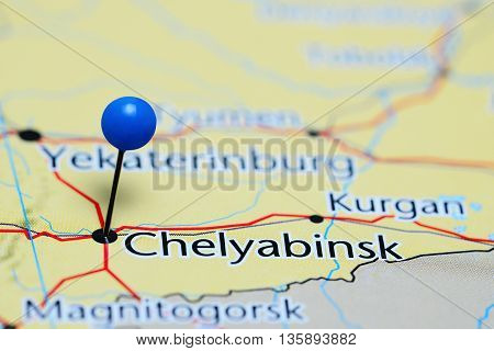 Chelyabinsk pinned on a map of Russia